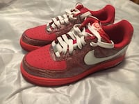 pair of red-and-white Nike running shoes Burlington, 08016