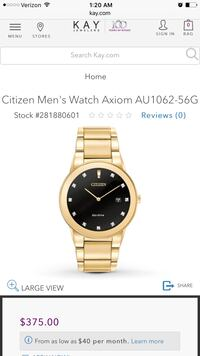 Round gold Citizen analog watch with link bracelet Hilo
