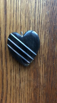 Horn heart with silver - vintage jewelry