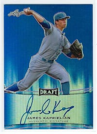 JAMES KAPRIELIAN 2015 Leaf BLUE PRISMATIC on card AUTOGRAPH #/50 A's
