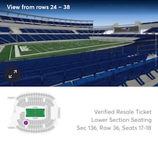 Chiefs @ Patriots 2 FIELD LEVEL Tickets Section 136 12/8/19 $90 each