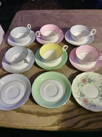 Chinese saucer cup sets with gold trim