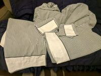 Two sets twin sheets- navy and white stripes