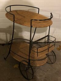 WROUGHT IRON AND WICKER TEA TROLLY North Dumfries, N0B