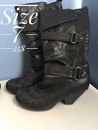 pair of black leather heeled boots Barrie