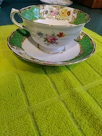 white and green floral ceramic teacup with saucer Toms River, 08757