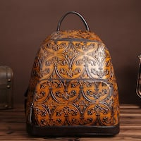 ZADA JEREMY RETRO EMBOSSED TOP LAYER HANDMADE LEATHER BACKPACK
