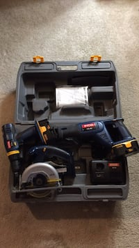 Ryobi  18V cordless tool set. Drill, Circular saw, Saw zaw, charger with 2 batteries and case   New Lenox, 60451