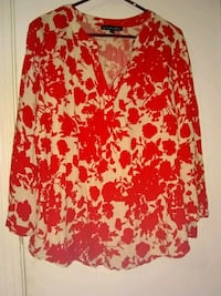 red and white floral long-sleeved shirt Waco