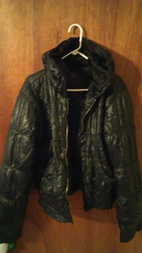 black leather zip-up hooded jacket