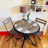 Rustic Round Adjustable Table with Chairs Chicago, 60640