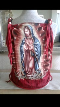 RED VIRGEN MORENA CUT & WEAVED T-SHIRT BY ME.  Modesto, 95350