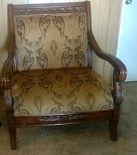 brown wooden framed floral padded armchair Clovis, 93612