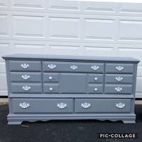 Solid Wood 8 Drawer Long Dresser Gray With White Handles  Woodbridge, 22192