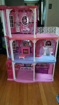 pink and white 3-story dollhouse Hampton, 23666