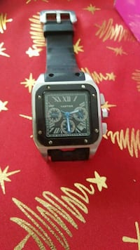 square silver-colored analog watch with black strap 2547 km