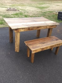Rustic barn wood dining table with one matching bench