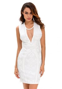 White Mesh Studded Mini Dress Size: S Color:White