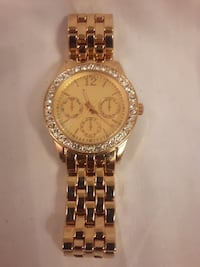 Round Gold-Colored Diamond encrusted analog watch