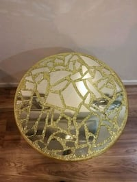 gold glitter mirror end table York, 17403
