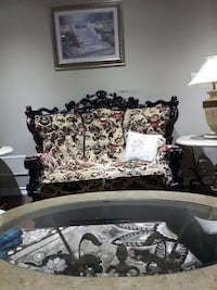 white and black floral sofa 3 peice set in total