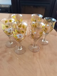 Four clear glass footed cups Laval