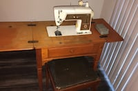 Sewing machine and table with stool