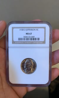 1938-D JEFFERSON NICKEL 5C NGC MS67 Lynn, 01905