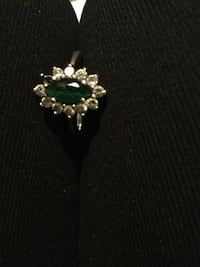 Antique 925 ring with emerald and diamonds  Calgary, T2A 1C4