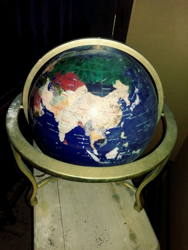 Gemstone World Map.Used Gemstone World Map Globe Will Trade For French Doo For Sale In