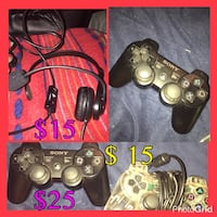 3 sony game controller and corded headset