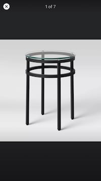Black Matte Finish & Clear Glass Top Round End Table