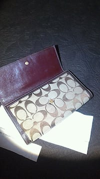 brown monogrammed Coach leather wallet Moreno Valley