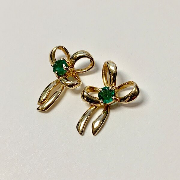 Genuine 14k Yellow Gold Emerald Earrings d6531a0e-bf69-4d95-bf1d-24bfe0627a90
