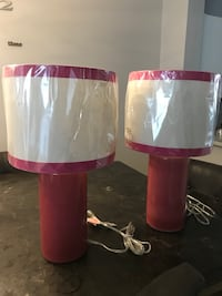 Two white-and-pink table lamps Boca Raton