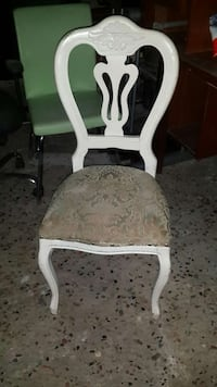 white wooden brown floral padded chair