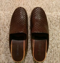 pair of brown leather slip-on shoes