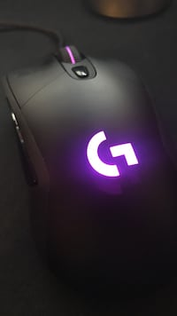 black corded gaming computer mouse