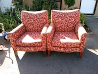 two red-and-white floral sofa chairs Portland, 97266