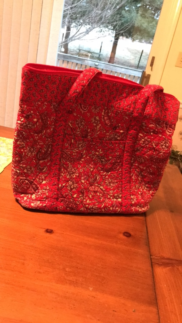 women's red and black floral tote bag