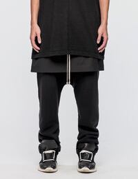 SNAPLOOX URBAN OBLIQUE DOUBLE LAYER FLEECE SKIRT PANTS IN BLACK