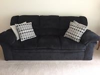 Dark Gray fabric 2-seat sofa with throw pillows Ashburn