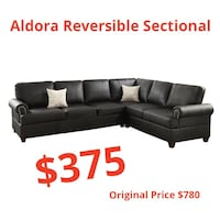 Black leather convertible sectional sofa  El Paso, 79912