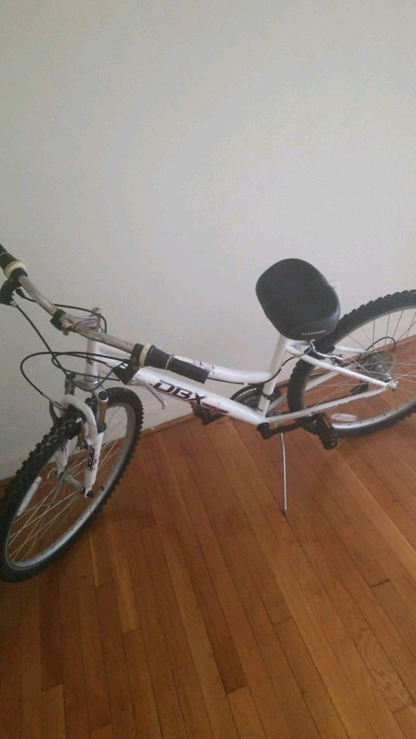white and black full suspension mountain bike