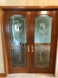 3 Solid Wood Door's with glass inserts for sale.  Handles and hinges included. Vaughan, L4L 8G2