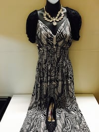 Grey and black puff sleeve dress, WITH HEELS AND NECLACE Tuscaloosa, 35401