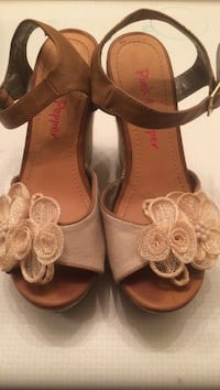 pair of women's brown and gray Pink Pepper with flower accent open-toe pumps