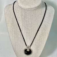 Antique Sterling Silver & Black Onyx Pendant with Leather Cord Necklace Ashburn, 20147