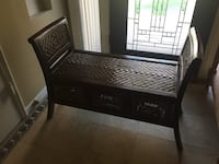 Brown wooden entry bench with baskets from World Market