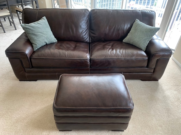 Brown Leather Couch with Ottoman 91\